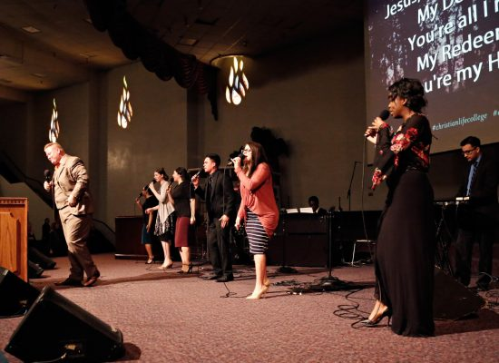 The Student Worship Team leading during Student Chapel.